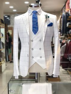 Slim-Fit Plaid Suit White