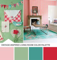 Tuesday Huesday: Picnic-Ready Prints, Updated From HGTV's Design Happens Blog (http://blog.hgtv.com/design/2013/04/02/red-teal-mint-green-living-room-color-palette/?soc=pinterest)