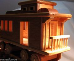 Train Caboose Track Hand Crafted of Wood Large