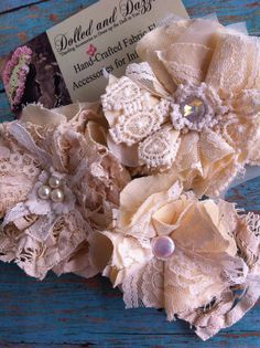 Gorgeous Set of 3/ Ivory, Cream Embellishments/ Linen & Lace/ Clothing Embellishment/ Brooch Pins/ Hairclips/ Magnetic Flowers/ Lampshade