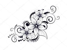Simple Flower Swirl Tattoo Designs Floral Design Element with Swirls for Spring Stock Tattoo Sleeve Designs, Flower Tattoo Designs, Sleeve Tattoos, Lily Tattoo Design, Line Tattoos, Body Art Tattoos, Flower Vine Tattoos, Swirl Tattoo, Shoulder Tattoos For Women