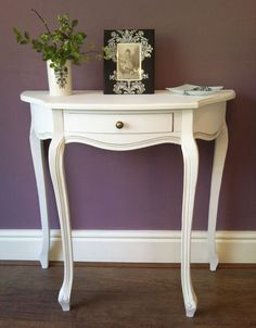 French Style Antique White 1 Drawer HALL CONSOLE Side Vanity Table in Home, Furniture & DIY, Furniture, Tables   eBay 80cm x 80cm £109.90