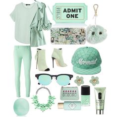 Like my look? Mint Green Outfits, Teal Outfits, Cute Outfits, Aesthetic Outfit, Aesthetic Clothes, Mint Green Aesthetic, Green Basket, Green Palette, Green Theme