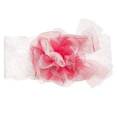 ALETTA Baby Girls White Lace & Pink Tulle Headband