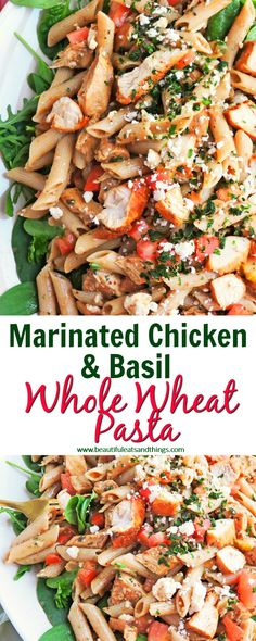 Tastes better than Taziki's pasta! This Marinated Chicken & Basil Whole Wheat Greek Pasta is low fat and low calorie! calorie dinner Marinated Chicken & Basil Whole Wheat Greek Pasta Healthy Low Calorie Dinner, Low Calorie Pasta, Low Fat Dinner Recipes, Low Calorie Dinners, No Calorie Foods, Diet Foods, Low Calorie Low Fat Recipes, Low Fat Meals, Low Calorie Chicken Recipes