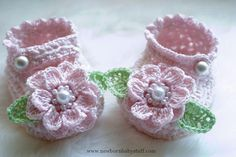 Crochet Baby Booties Chenille Mary Jane Baby Booties Pattern...