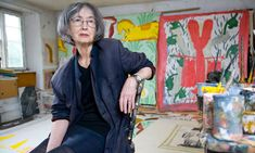 Rose Wylie at her home in Kent. Photograph: Henry Browne for the Guardian