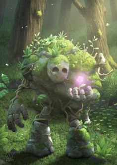 Garden Golem is overwhelmed by the first bloom of spring. Fantasy creature concept by Andrew McIntosh. Forest Creatures, Magical Creatures, Cute Fantasy Creatures, Fantasy Kunst, Fantasy Art, Fantasy Forest, Fantasy Fairies, Forest Art, Dark Forest