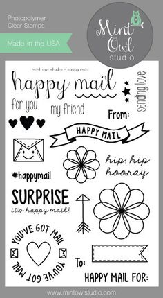 Happy Mail Stamp Set | Mint Owl