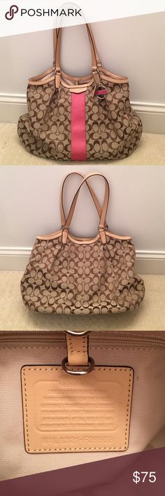 Coach handbag Great summer bag! Outside of bag is brand new!! Inside of bag has a couple of marks. Coach Bags Shoulder Bags