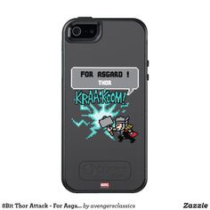 8Bit Thor Attack - For Asgard! OtterBox iPhone 5/5s/SE Case. Cool Marvel merchandise to personalize. #marvel #avengers #birthday #birthdayparty #birthdaycard #personalize #kids #shopping