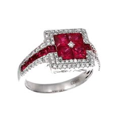 18kt white gold Gregg Ruth ruby and diamond ring - Barmakian Jewelry - https://www.barmakian.com