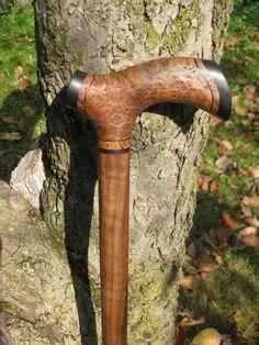Madagascar Plum Burl Wood Walking Cane  Walking Stick by gammamike, $260.00