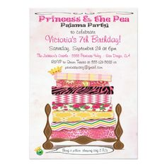 Princess & the Pea Pajama Birthday Party Custom Invitations