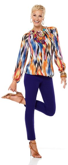 Love this look for us older women..Choose a multi-colored top that matches your denim. #chicos