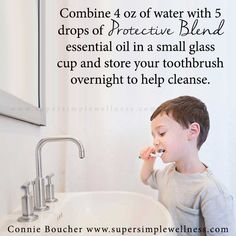 Combine 4 oz of #water with 5 drops of #ProtectiveBlend #essentialoil in a small glass cup and store your #toothbrush overnight to help #cleanse. #natural #allnatural #EO #EOlove #EOblend #essentialoilsblend #essentialoilblend #fresh #freshmouth #ConnieBoucher #SuperSimpleWellness #author #essentialoils #health #chakra #wellness #choosehappiness