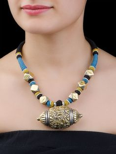 Buy Multicolor Floral Silver Necklace Beads Cotton Thread Jewelry Fables Embossed Antique Finish Tribal Online at Jaypore.com