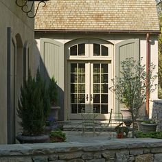 Exterior Pratt And Lambert Lambswool Design Ideas, Pictures, Remodel and Decor E. - Exterior Pratt And Lambert Lambswool Design Ideas, Pictures, Remodel and Decor Exterior shutters Pr - French Country Exterior, French Country Cottage, French Country Style, French Country Decorating, Green Shutters, House Shutters, Exterior Shutters, Cottage Shutters, Colors