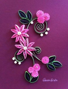 Birthday card for Katharine 2015 Paper Quilling Cards, Paper Quilling Tutorial, Paper Quilling Flowers, Paper Quilling Patterns, Origami And Quilling, Quilled Paper Art, Quilling Work, Quilling Craft, Quilling Ideas