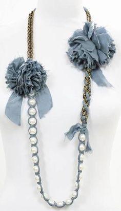 Lanvin Blue Silk Grosgrain Ribbon Pearl Tie Necklace