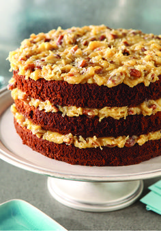 Best cake ever. Worth the work to make. Original BAKER'S GERMAN'S Sweet Chocolate Cake – Make this classic BAKER'S GERMAN'S chocolate cake recipe for your next special occasion—and see for yourself what all the fuss about German chocolate cake is about! German Sweet Chocolate Cake Recipe, Chocolate Recipes, German Chocolate Cake Frosting, German Chocolate Brownies, German Cake, Coconut Pecan Frosting, Coconut Dessert, Cake Recipes For Kids, Dessert Recipes