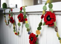 poppy garland upcycled wool felt from recycled sweaters, banner decoration for weddings or home