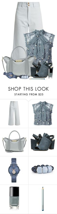 """Untitled #2060"" by ebramos ❤ liked on Polyvore featuring Apiece Apart, Needle & Thread, ZAC Zac Posen, Seychelles, Michael Kors, Chanel and Laura Mercier"