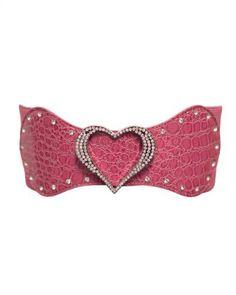 Pink Heart Buckled Rhinestone Faux Croc Elastic Belt FineBrandShop. $15.95