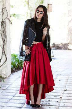 SHOPAKIRA collaboration, GRACIA Gracia Hi Low Shine Skirt in Red, Valentine's Day style, maxi skirt, People by People sunglasses, PBP collaboration, Rag and bone hudson leather jacket, MASON BY MICHELLE MASON crop top, Acne Studios 'Alivia' Pointy Toe Pump, Chanel Boy bag