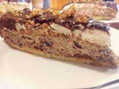 עוגת טורט מהחלומות במילוי קרם נוגט ובציפוי שוקולד ואגוזים מסוכרים(מתכון פרומית)