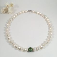 Freshwater Pearl Necklace with Jade Bead, Elegant Necklace, Bridal Pearl Necklace, Bridesmaid Necklace, Mother's Day Gift, Classy Necklace by JiaojiaosPearls on Etsy