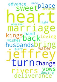 Change the heart -  The kings heart is in the hand of the LORD, Like the rivers of water; He turns it wherever He wishes. Proverbs 211 NKJV Father, turn my husbands heart to You and our marriage. Place a desire over Jeffreys heart to honor his vows he made to You and me. Lord, bring Jeffrey back to Your light. Resurrect our marriage to Your glory Thank you in advance for Jeffreys deliverance. Thank you for loving us so. In Jesus sweet name I ask. Amen  Posted at…