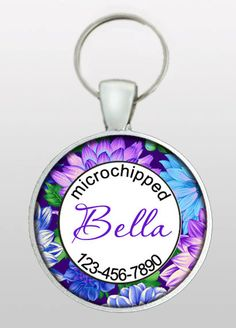 Dog ID Tag - Pet ID - Pet I.D. Tag - Microchip Alert - Artistic Flowers - Gifts Under 10 - Girly Dog Tag - Dog Tag - Design No. 232