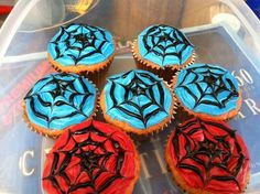 For my son to take to school tomorrow for his birthday I m so excitedspiderman cupcakes.