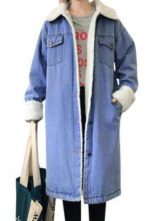 Casual Women Single Breasted Fleece-Lined Warm Denim Jacket Coat - Banggood Mobile