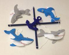 Blue Gray and White Felt Shark Crib Mobile, Shark Nursery Decor, Nautical Theme Nursery on Etsy, $40.00