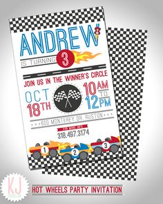 Hot Wheels Party Invitation kjpaperie.com