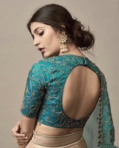 While selecting your desired bridal lehenga, don't forget to pick a stylish blouse design that will compliment your whole look. Indian Blouse Designs, Brocade Blouse Designs, Saree Jacket Designs, Choli Blouse Design, Blouse Designs High Neck, Simple Blouse Designs, Stylish Blouse Design, Back Neck Designs, Designer Blouse Patterns