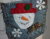 Pochette jeans bonhomme de neige en feutrine. : Accessoires de maison par laboiteabijouxnanny