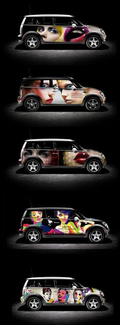 Same-day delivery service for online cosmetics sales in New York - Sephora MINI Cooper Bmw, Mini Clubman, Mini Coopers, Vehicle Signage, Van Wrap, Branding, Brand Identity, Mini S, Car Painting
