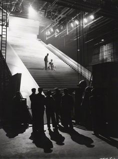 David Niven and Marius Goring on the set of A Matter of Life and Death, Michael Powell and Emeric Pressburger. David Niven, Tv Set Design, Andreas Gursky, Fantasy Films, Cinema Film, Moving Pictures, Film Stills, Film Photography, Cinematography