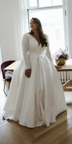 39 Plus-Size Wedding Dresses: A Jaw-Dropping Guide ❤ plus size wedding dresses simple ball gown with long sleeves olivia bottegga #weddingforward #wedding #bride