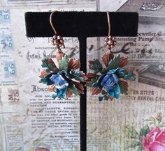 FUF 17/4/15 Earrings matching cuff, Old Rose Copper, Lumiers and clay flower. On copper hand made ear wires.