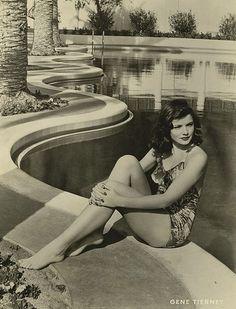 Gene Tierney #vintage #swim #pool