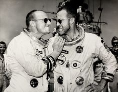 Gordon Cooper and Charles 'Pete' Conrad in high spirits aboard a US navy recovery ship after their Gemini 5 flight in August 1965 Photograph: Courtesy of WestLicht Pete Conrad, Gordon Cooper, Glycine Airman, Project Gemini, Pilot, Apollo Space Program, Nasa Missions, Nasa History, Space And Astronomy