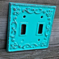 Teal Decorative Light Switch Plate/ Double Switch Cover/ Fleur de lis/ Bright Cast Iron/ Painted Metal/ Shabby Chic /Distressed Turquoise