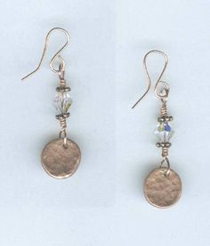 metal jewelry designs   Copper Clay Textured Disc and Crystal Earrings