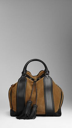 Large Framed Suede Tassel Tote Bag | Burberry