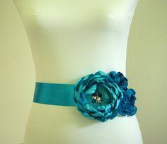 Bridal sash Turquoise Blue sash Flower bridal by kpersonboutique, $149.00