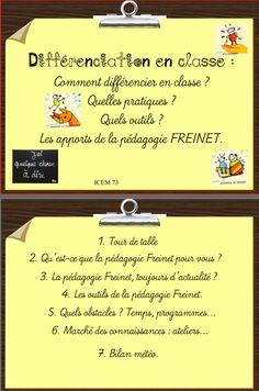 For when my French becomes more fluent: Freinet : animation pédagogique autour de la différenciation en classe